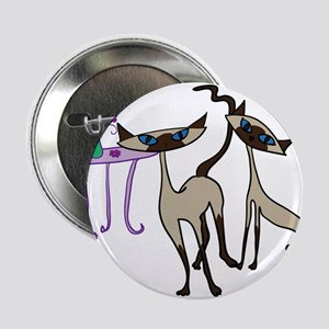 """Siamese Cats looking for mischief 2.25"""" Button"""