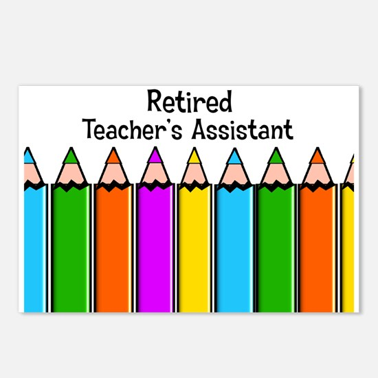 teachers assistant retired Postcards (Package of 8