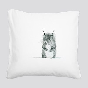 Cute Squirrel Drawing Square Canvas Pillow