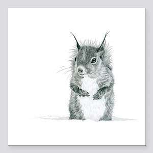 "Cute Squirrel Drawing Square Car Magnet 3"" x 3"""