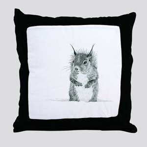 Cute Squirrel Drawing Throw Pillow