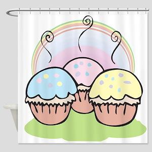 three cute little cupcakes Shower Curtain