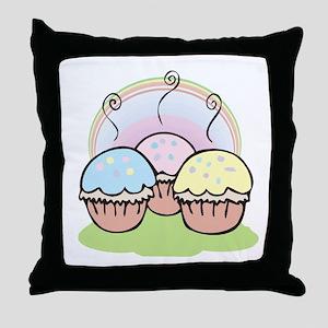 three cute little cupcakes Throw Pillow