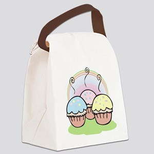 three cute little cupcakes Canvas Lunch Bag