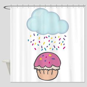Cute Raining Sprinkles on Cupcake Shower Curtain