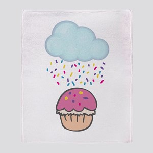 Cute Raining Sprinkles on Cupcake Throw Blanket