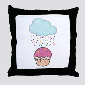 Cute Raining Sprinkles on Cupcake Throw Pillow