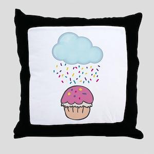 Cute Raining Sprinkles on Cupcake Throw Pillow