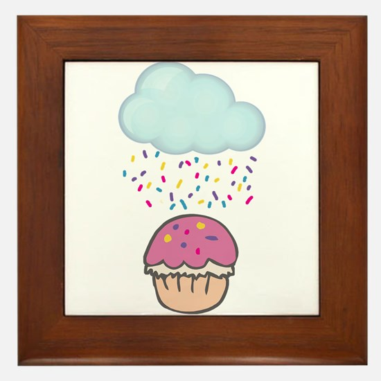 Cute Raining Sprinkles on Cupcake Framed Tile