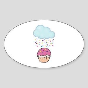Cute Raining Sprinkles on Cupcake Sticker (Oval)