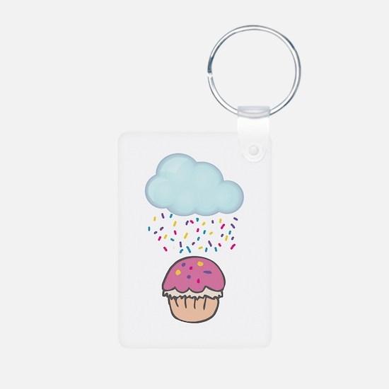 Cute Raining Sprinkles on Cupcake Keychains