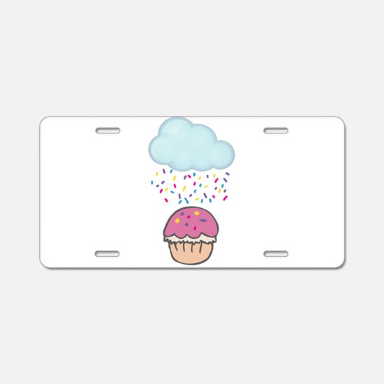 Cute Raining Sprinkles on Cupcake Aluminum License