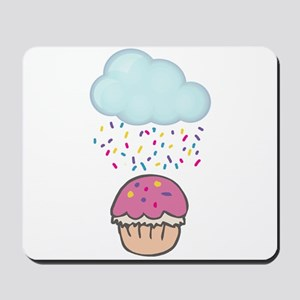 Cute Raining Sprinkles on Cupcake Mousepad