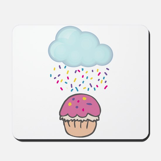 Cute Raining Sprinkles on Cupcake Mousepad