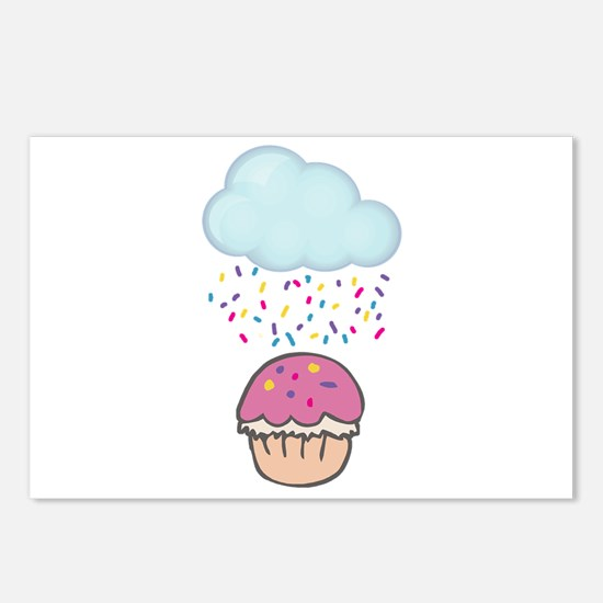 Cute Raining Sprinkles on Cupcake Postcards (Packa
