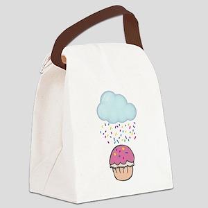 Cute Raining Sprinkles on Cupcake Canvas Lunch Bag