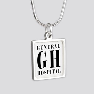 General Hospital Black Silver Square Necklace