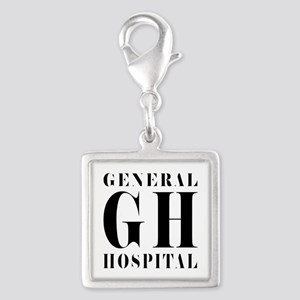 General Hospital Black Silver Square Charm