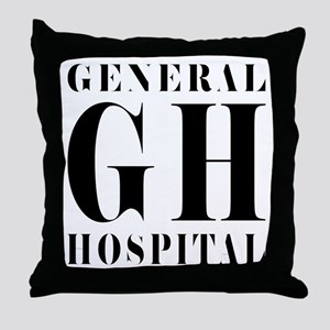 General Hospital Black Throw Pillow