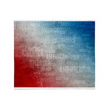 Patriotic America Text Graphic Throw Blanket