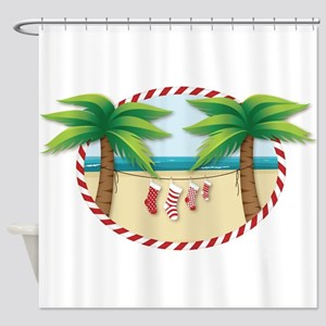 Christmas Stocking Beach Shower Curtain