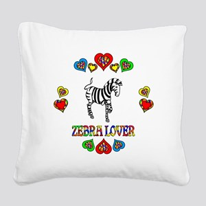 Zebra Lover Square Canvas Pillow