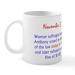 Mug: Woman suffragist Susan B. Anthony voted in de