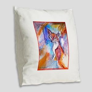 Fox, wildlife art! Burlap Throw Pillow