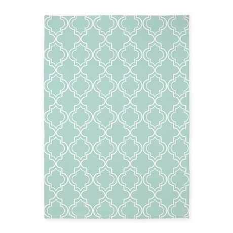 Light Teal Moroccan Quatrefoil 5'x7'Area Rug by HHTrendyHome