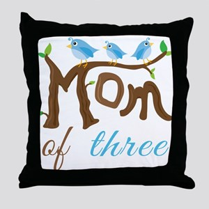 Mom Of Three (birds) Throw Pillow