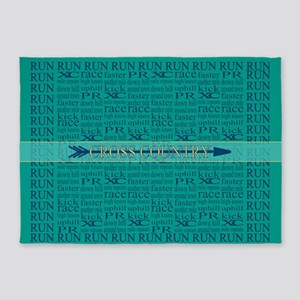 Cross Country Running Collage Blue 5'x7'Area Rug