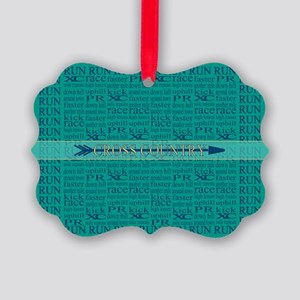 Cross Country Running Collage Blue Picture Ornamen