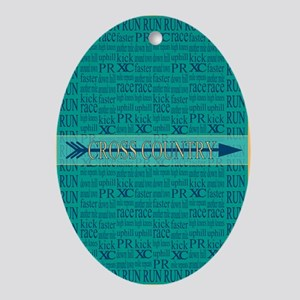 Cross Country Running Collage Blue Ornament (Oval)