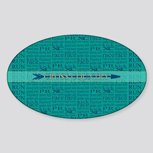 Cross Country Running Collage Blue Sticker (Oval)