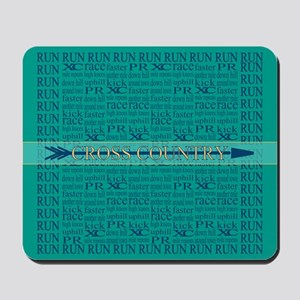 Cross Country Running Collage Blue Mousepad