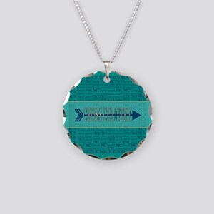 Cross Country Running Collage Blue Necklace Circle