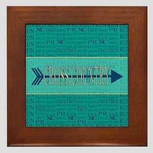 Cross Country Running Collage Blue Framed Tile
