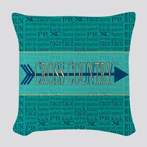 Cross Country Running Collage Blue Woven Throw Pil