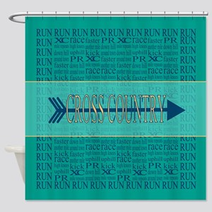 Cross Country Running Collage Blue Shower Curtain