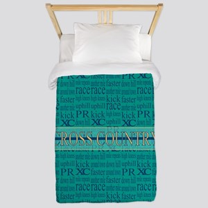 Cross Country Running Collage Blue Twin Duvet