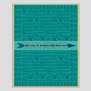 Cross Country Running Collage Blue Small Poster