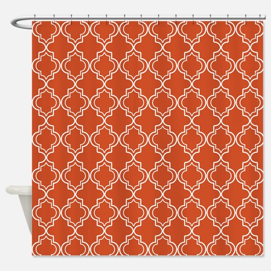 Pumpkin Orange Moroccan Quatrefoil Shower Curtain