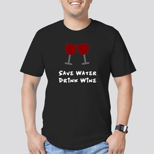 Save water drink wine Men's Fitted T-Shirt (dark)