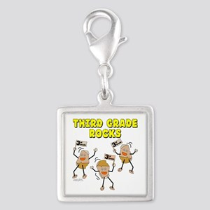 Third Grade Rocks Silver Square Charm