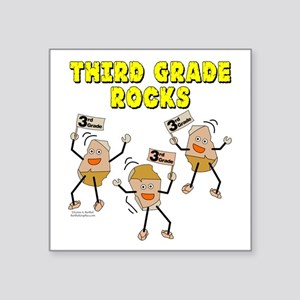 "Third Grade Rocks Square Sticker 3"" x 3"""
