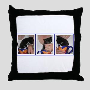 Coffee Cup Kitten Throw Pillow
