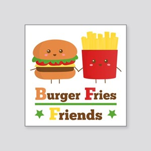 Kawaii Cartoon Burger Fries Friends BFF Sticker