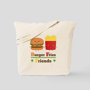 Kawaii Cartoon Burger Fries Friends BFF Tote Bag