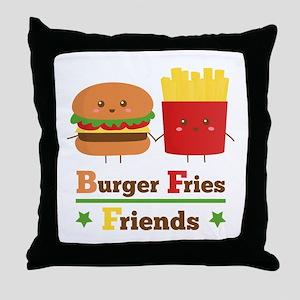 Kawaii Cartoon Burger Fries Friends BFF Throw Pill