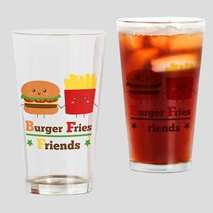 Kawaii Cartoon Burger Fries Friends BFF Drinking G
